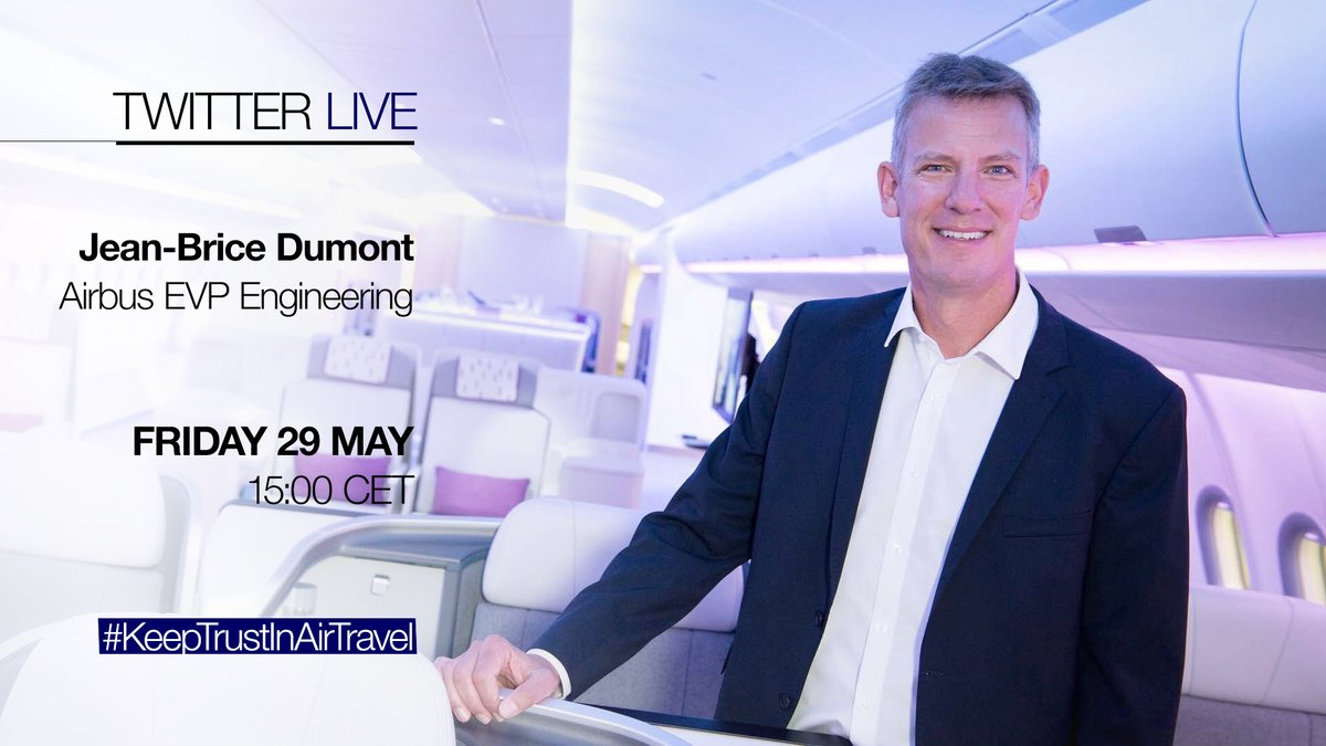 ✈️Cabin air is fully renewed about every 3 mins. As you are getting ready to take your next flight, we know you may need more details on how we make it happen.  🎥Join our engineering guru @JeanBriceDumont for a live Q&A.  ➡️Ask your questions NOW!  #KeepTrustInAirTravel #COVID19 https://t.co/Tl5JFODDRc