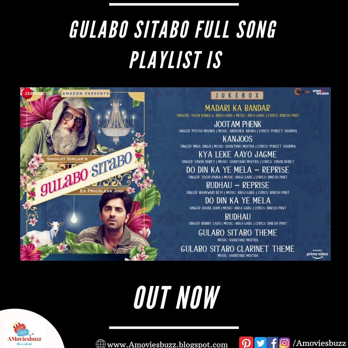 #gulabositabo  Full Song Playlist Is Out Now. @Ayushmann k @amitabhbachchan #soojitsircar  @zeemusiccompany  For More Update Follow Us  #bollywoodupdates #movies #bollywood #moviesupdate #webseries #webseriesupdates #moviereview #webseriesreview #gulabositabopic.twitter.com/quOvFWTUlC