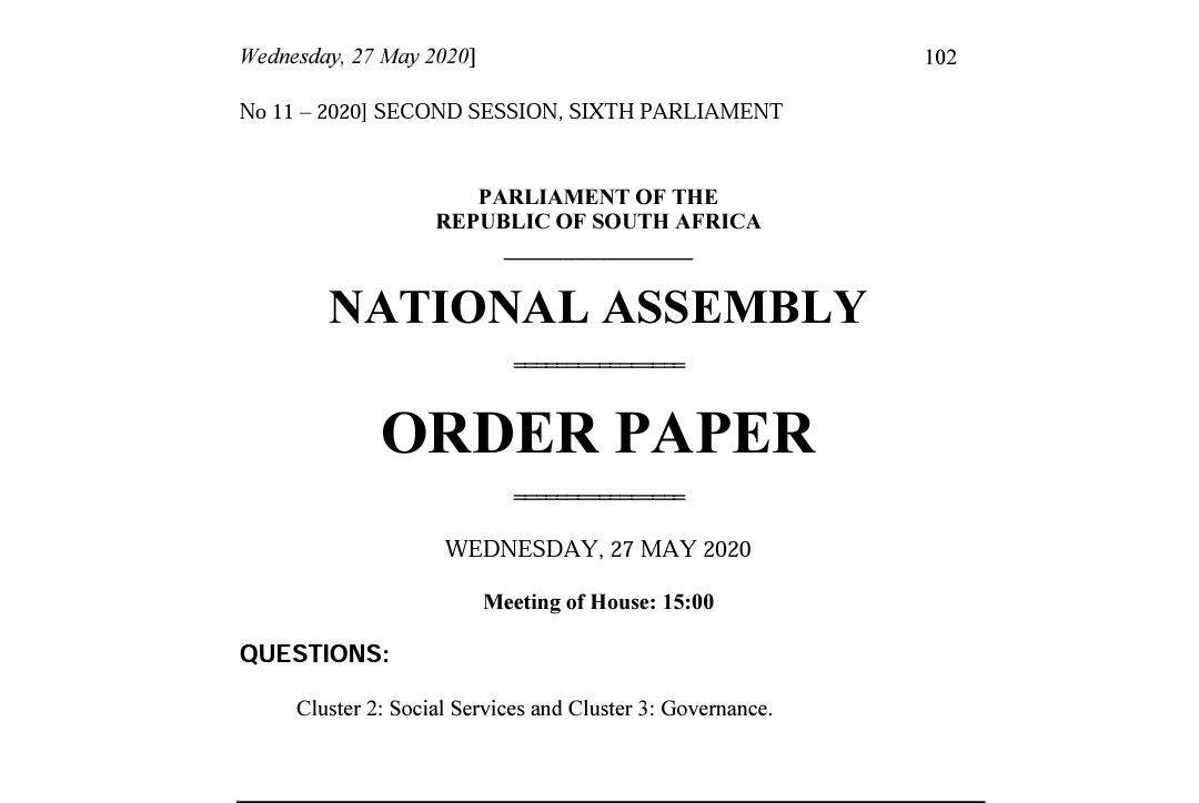 Today in Parliament: #NationalAssembly   Oral Question & Answer Session for the Social Services & Governance Clusters at 15H00.  #SocialServicesQnA #GovernanceQnA https://t.co/PFiBCuUG8g