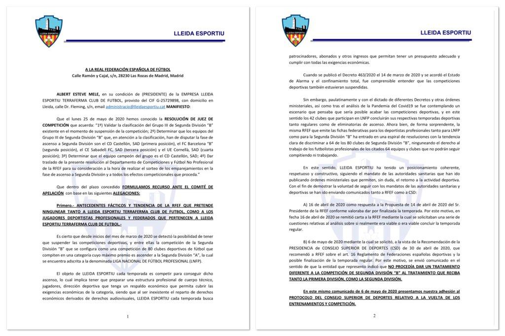 Recurs a la resolució de la RFEF del 25 de maig  #LleidaEsportiu 🔵 https://t.co/cUN3B0Lm5l