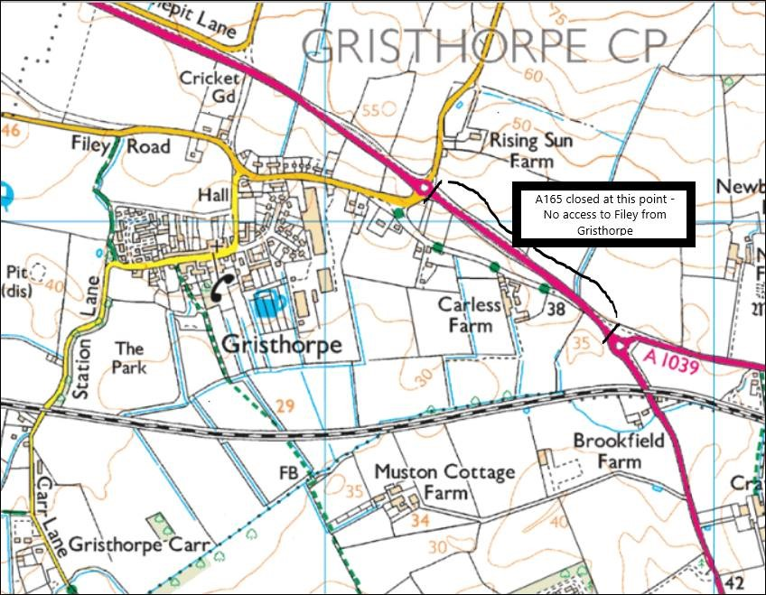 (2/2) Please follow the diversion along the B1261 to #Cayton and onto the #A64. Drivers can get to #Filey via the Staxton roundabout and the A1039 to Muston and onto Filey. Please use this route and avoid #Gristhorpe and #Lebberston. Thank you.