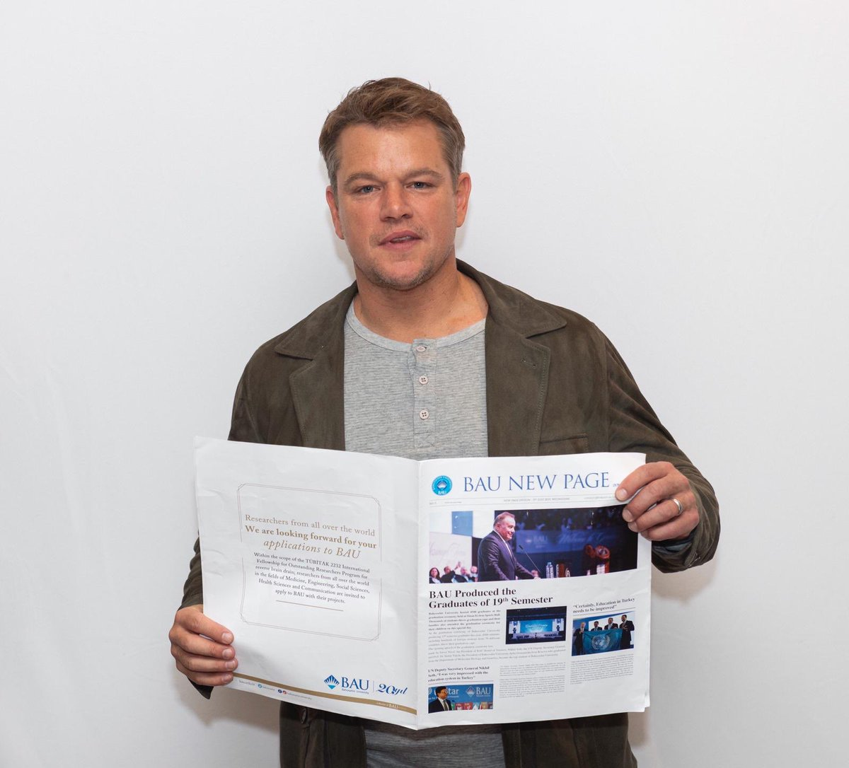 Bahçeşehir University is proud to announce that Matt Damon is interviewed by Barbaros Tapan for BAU Newspaper. https://t.co/RcUFxINtwK