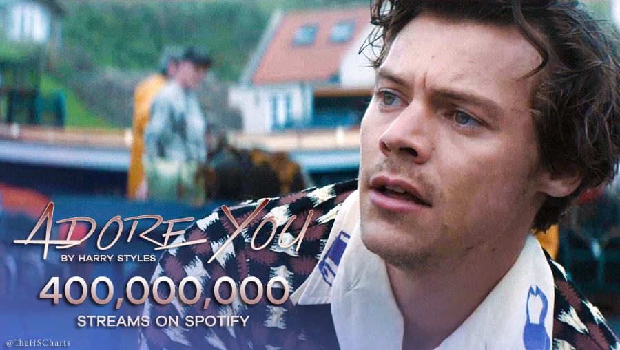 🎉 Adore You by Harry Styles has now surpassed 400 MILLION streams on Spotify! This is his second song to achieve this.