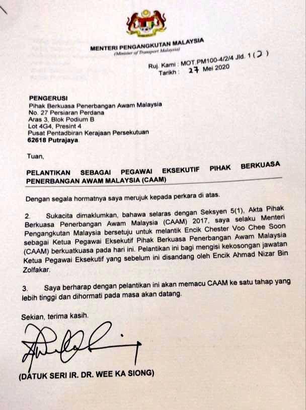 CEO PIHAK BERKUASA PENERBANGAN AWAM MALAYSIA (CAAM)  ZAMAN PH: Ahmad Nizam Zolfakar & Dr. Zainol Fuad Mereka Cina Komunis.  ZAMAN PN: Chester Voo Chee Soon Dia Melayu Muslim.  Betul tak? Cuba tanya pejuang2 Melayu Muslim PN. https://t.co/dr0ZpCyGiN