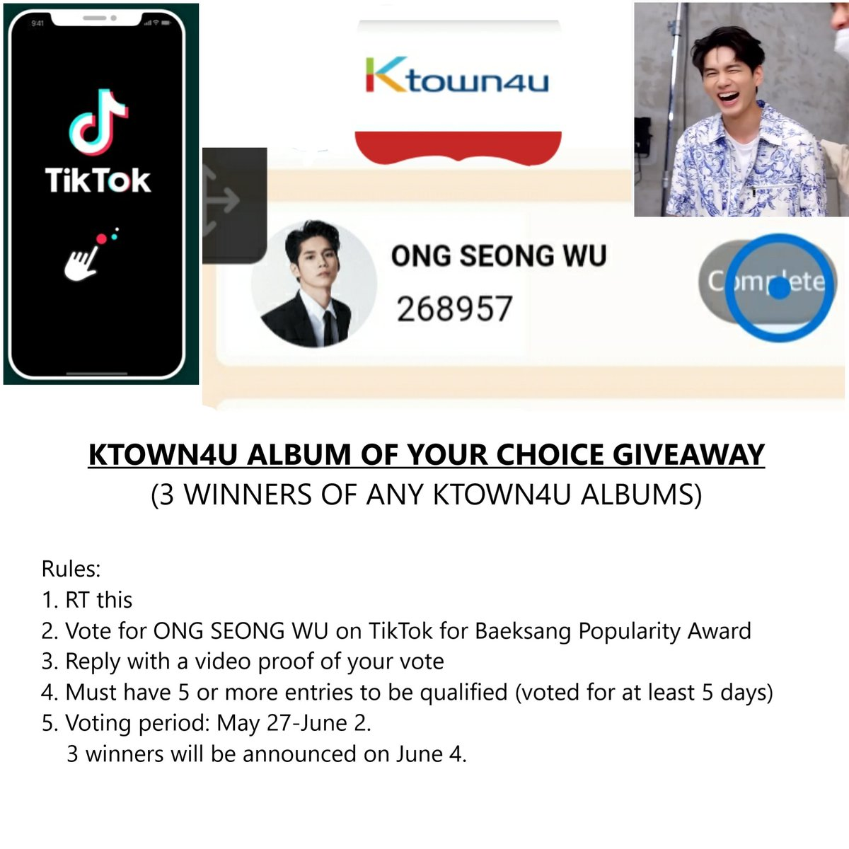 KTOWN4U ALBUM OF YOUR CHOICE GIVEAWAY 3 WINNERS  ANY FANDOM FROM ANY LOCATION ARE WELCOME TO JOIN  RT & VOTE FOR ONG SEONGWU ON TIKTOK TO WIN!  App download: ▪︎ Android https://play.google.com/store/apps/details?id=com.ss.android.ugc.trill… ▪︎ IOS https://apps.apple.com/kr/app/tiktok-%ED%8B%B1%ED%86%A1/id1235601864…  Rules (see pic) Tutorials (see below) #kpop #GApic.twitter.com/lF1VQNHSFx