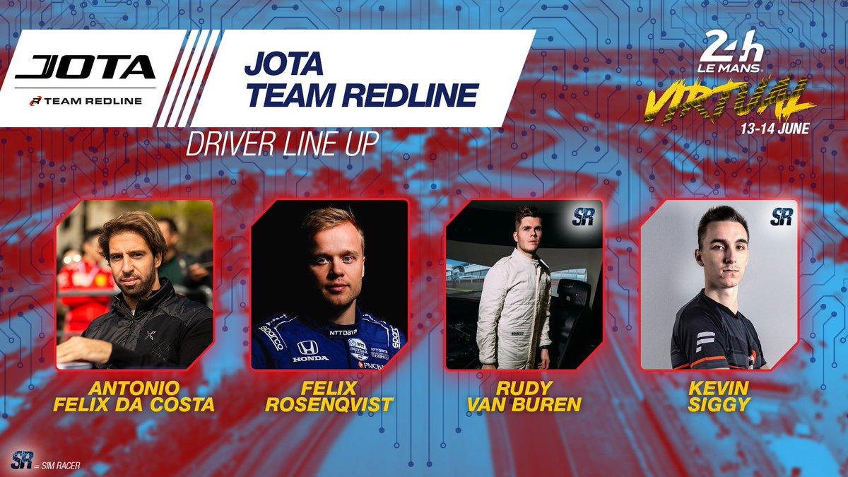 The second @JotaSport x @TeamRedlineSim car will see @afelixdacosta, @FRosenqvist, Rudy Van Buren and Kevin Siggy at the wheel. So...whos next? 😏 #WEC #LeMans24Virtual