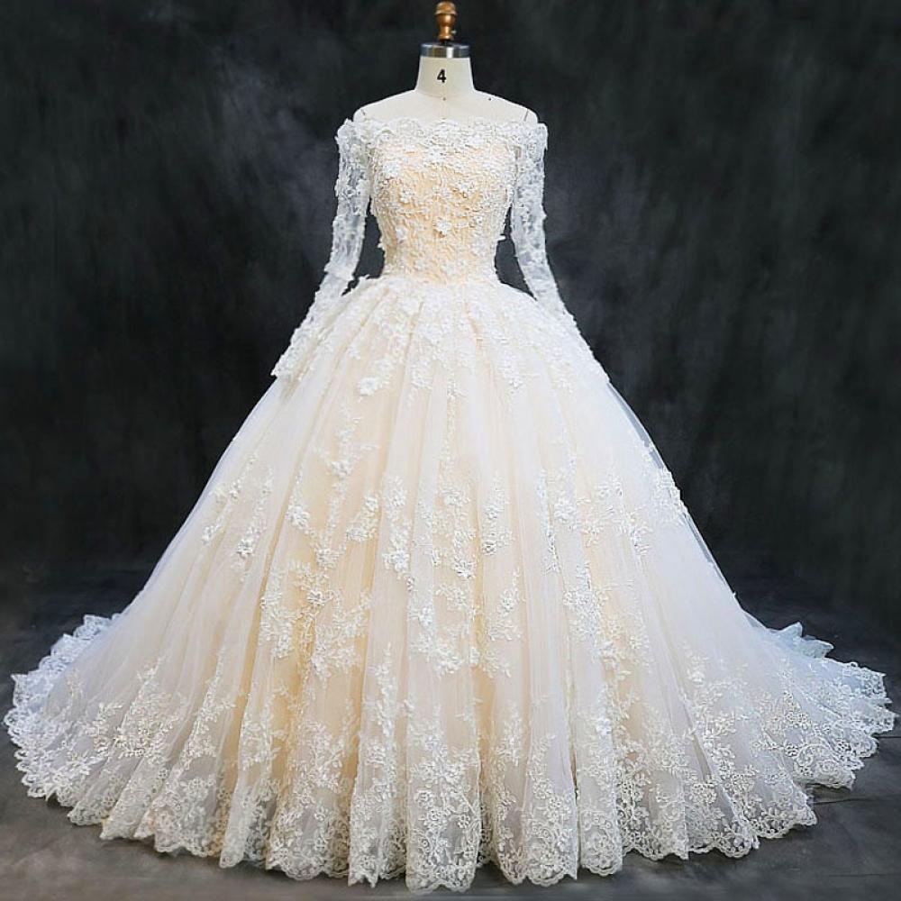 #igers #tagsforlikes Luxury Boat Neck Long Sleeve Lace Wedding Dress https://seyadi.com/luxury-boat-neck-long-sleeve-lace-appliques-flowers-puffy-champagne-wedding-dress-2019/…pic.twitter.com/cOPh2iEnv6