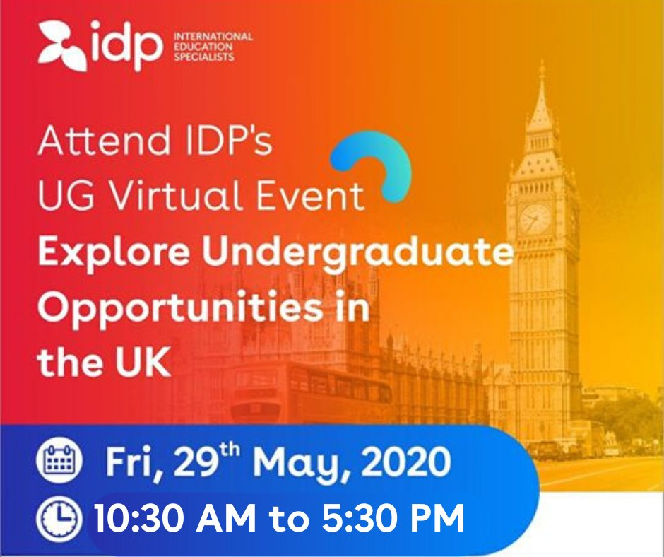To all Bangladeshi students who are planning to study Undergraduate programs in UK, this is a great chance to meet 20 UK universities virtually!  Free Register on this link for the event:  http://bangladesh.idp.com/d/rnq6ph/4W   For more Info: Call IDP UK: 01999930483  #IDPBangladesh #StudyUK pic.twitter.com/3Tnin68t4c