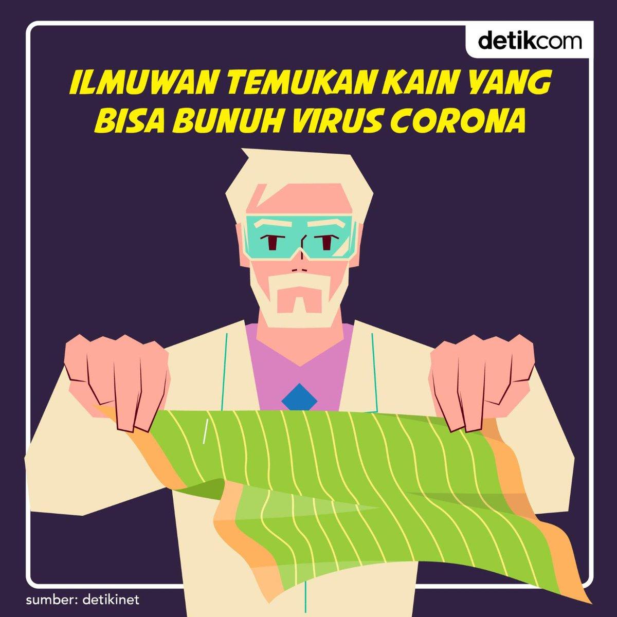 Ilmuwan menemukan kain yang bisa membunuh virus Corona secara instan. Kain ini diperkirakan akan mengubah alat pelindung diri di masa depan. https://t.co/cwOen8GcuQ  #VirusCorona #detikinet https://t.co/o6vHiGo3xW