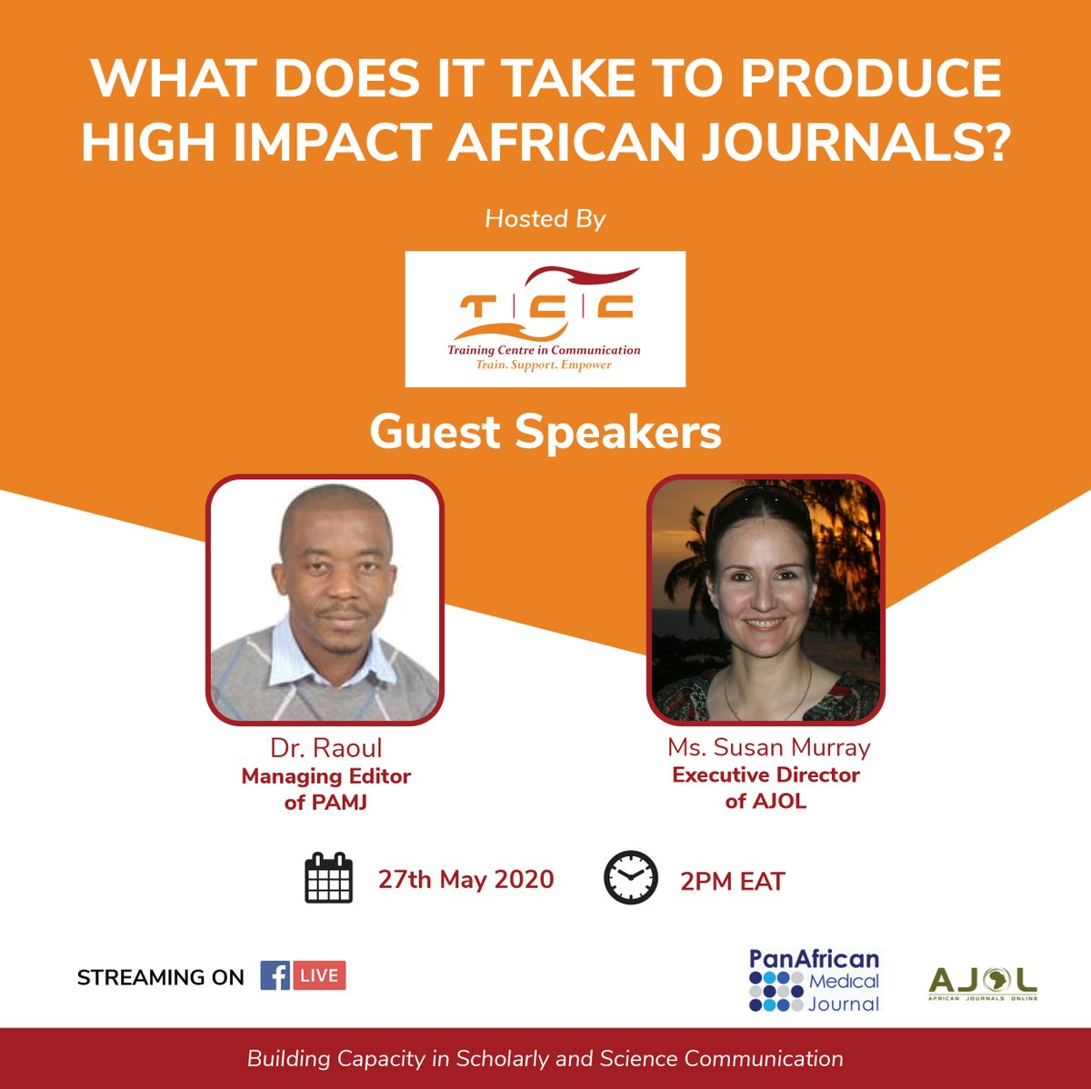 ONGOING: @AJOLinfo  & @tccafrica  #Webinar : What Does it Take To Produce High Impact African Journals (27 May 2PM,Nairobi) #LIVESTREAMING  via  https://t.co/cM1uHquPAT https://t.co/Kzkbd7zPQ3