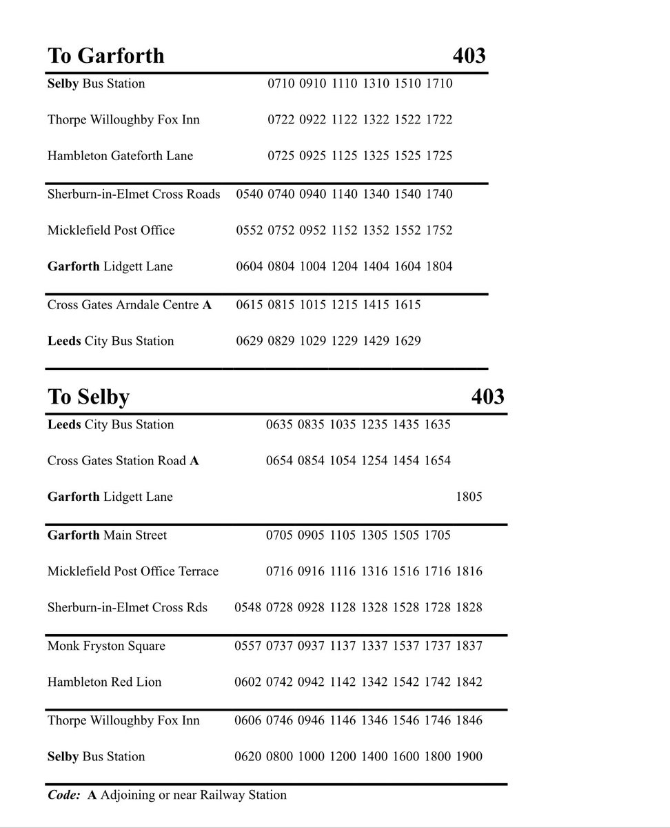 🚌🚌 New timetable for 403 bus in #Micklefield from Monday 1st June, it's the same timetable everyday Monday - Saturday 🚌🚌 twitter.com/jameslewislab/…