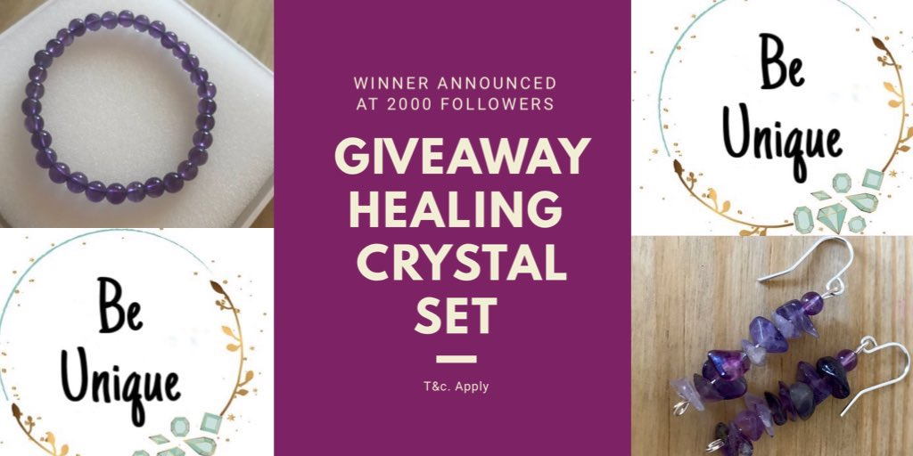GIVEAWAY ALERT   Follow @Be_Unique_UK  Tag a friend  RT this post  Good Luck #win Crystal Healing jewellery set  http://BeUniqueJen.etsy.com    #WinItWednesday #WednesdayWisdom #WednesdayVibes #wednesdaymorning #Competition #GiveawayAlert #giveaway #blogger pic.twitter.com/v4tnqXG3kJ