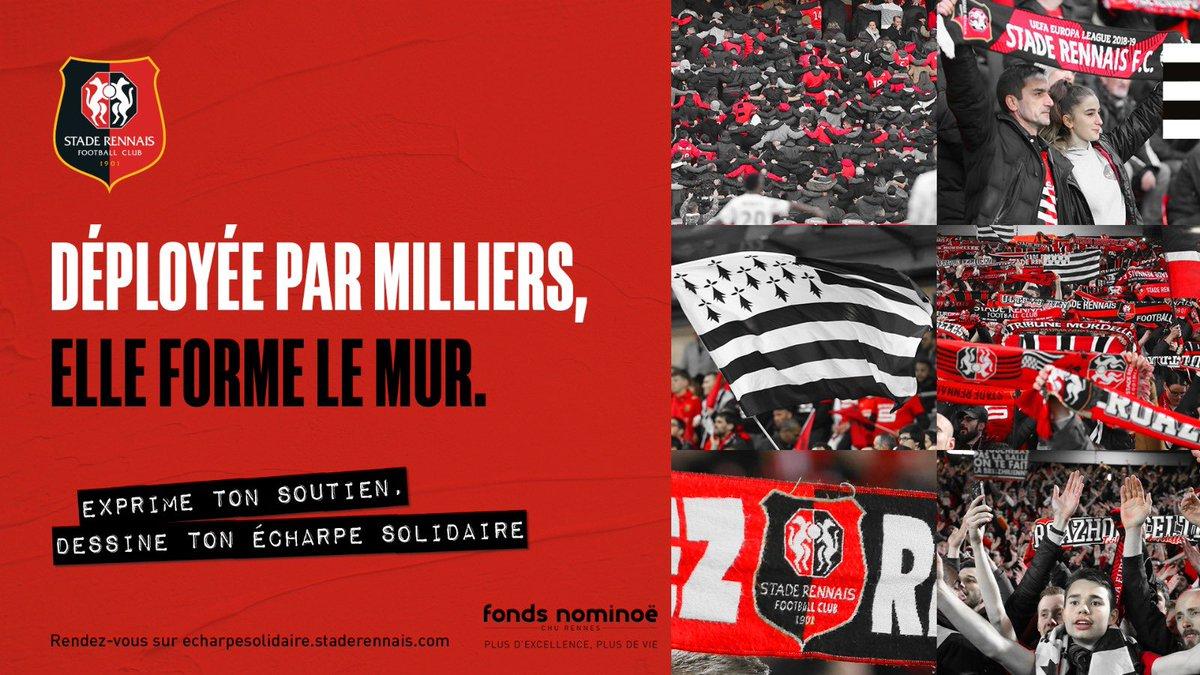 Ensemble, renforçons le mur. 🤜🤛 🤝 Soutenons le @FondsNominoe Crée ton écharpe solidaire @staderennais 👉 bit.ly/36yOun1 --- #ToutDonner #EcharpeSolidaire 🔴⚫