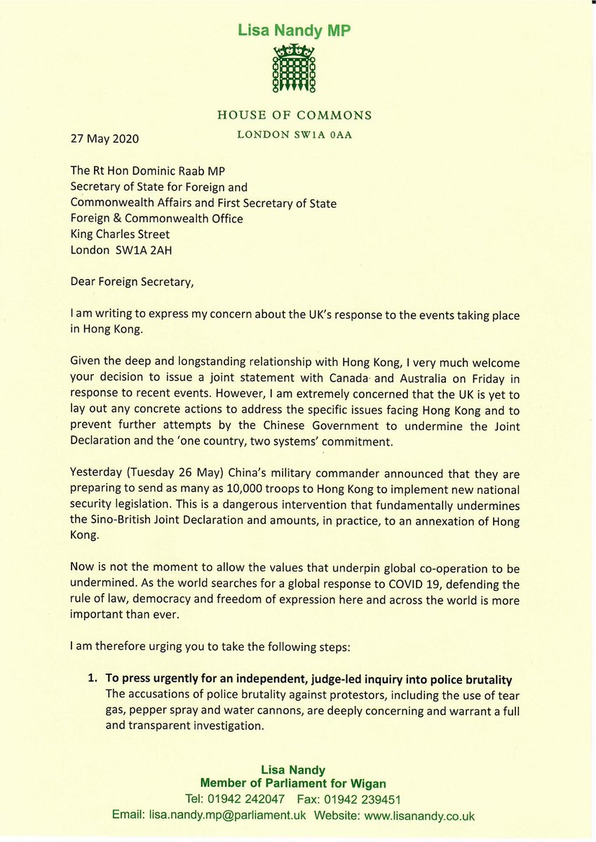 The UK has a deep and longstanding relationship with Hong Kong and its people. Now is not the moment for us to look away.  Today I've written to the Foreign Secretary and urged him to take immediate action to ensure we defend the values of democracy, freedom and the rule of law. https://t.co/XTuE2i0jhy