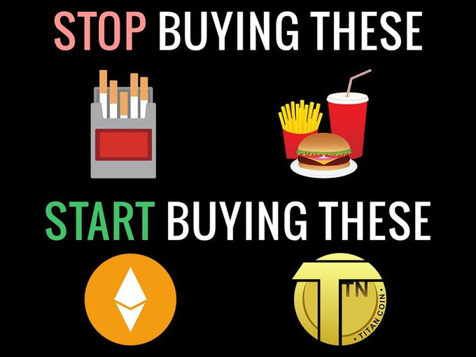 Stop wasting your time and #money in buying stuff that will only ruin your health and future, #Invest in your future by purchasing #Titan #Coin, a high-potential #digital payment coin  https://titanprojects.co  #blockchain #crypto #trading #coinbase #investment #investorpic.twitter.com/fHxpwviy3U