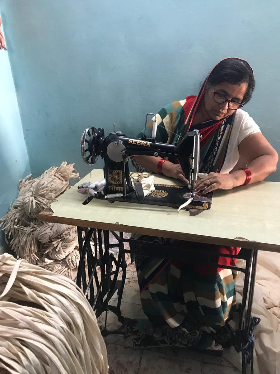 Stitching Indias safety shield, #FromHomeForHealth. As part of @WEP_NITIAayogs #MaskingItUpwithWEP initiative, ten home-based workers from Soumya Boutique completed the order placed by @ForestEssential for cloth masks. A few glimpses of their handiwork 📸