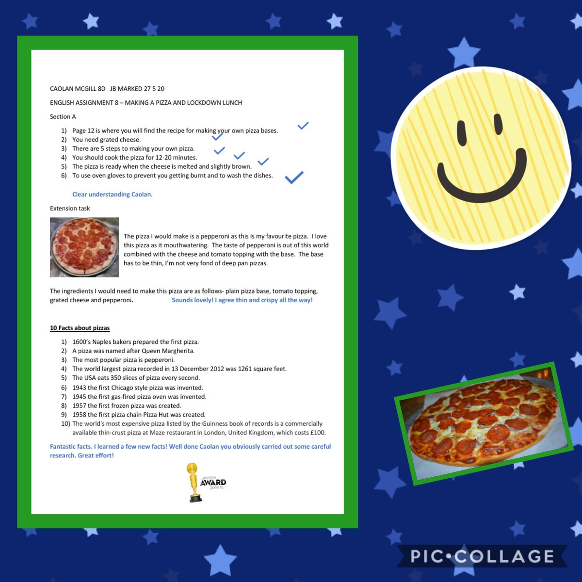 More fantastic assignments coming in! Well done to Caolan in year 8👏🌟🍕 @StJosephsDerry