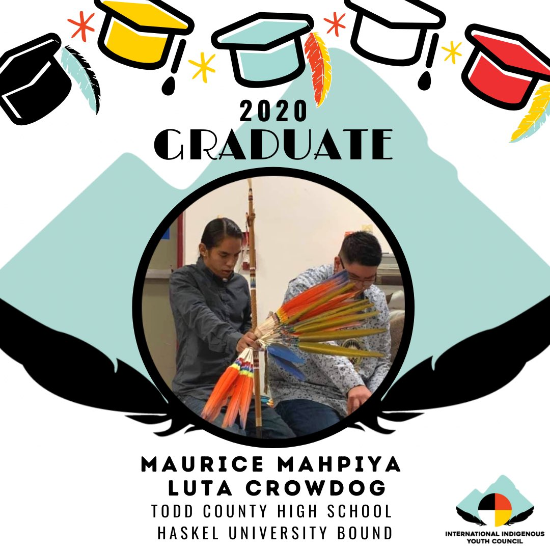 We want to wish Maurice Mahpiya Luta Crow Dog a special ikiciyuskin (congratulations) on graduating from Todd County HS in South Dakota this year! 🎓🎉⁣ Maurice will be attending Haskel Indian Nations University in Lawrence, KS in the Fall ☀️⁣ ⁣ #NativeGrad #IIYC #Classof2020
