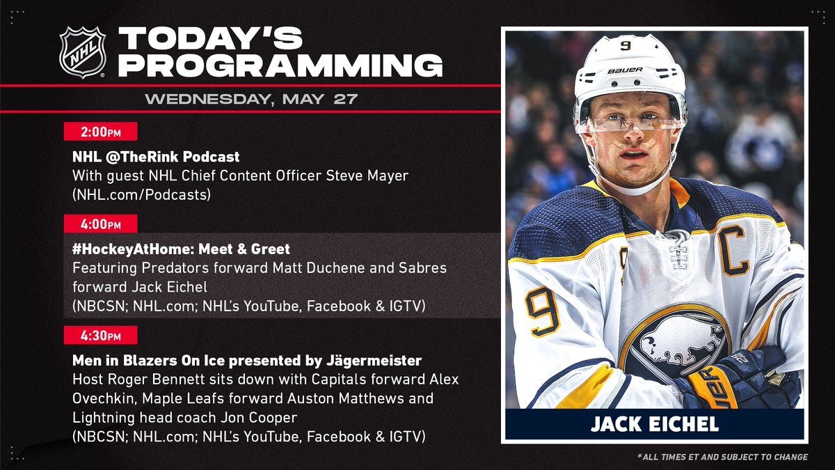 Today's @NHL programming includes @Matt9Duchene and @Jackeichel15 virtually meeting some of their biggest fans.
