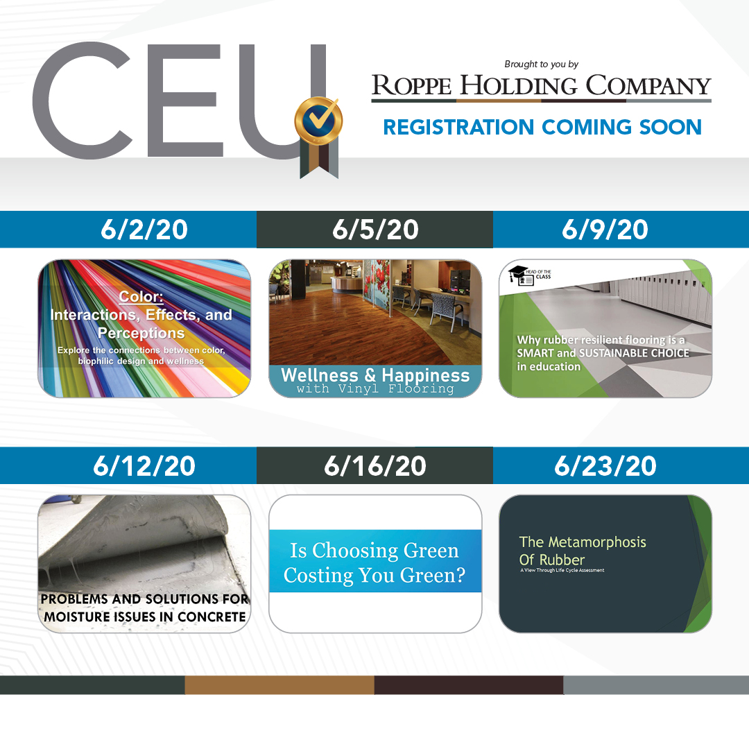 Roppe Holding Company presents a series of six CEU webinars during the month of June. Watch for registration links to all topics soon!#ceu #aia #idcec #continuingeducationpic.twitter.com/LG7PSTUBFn