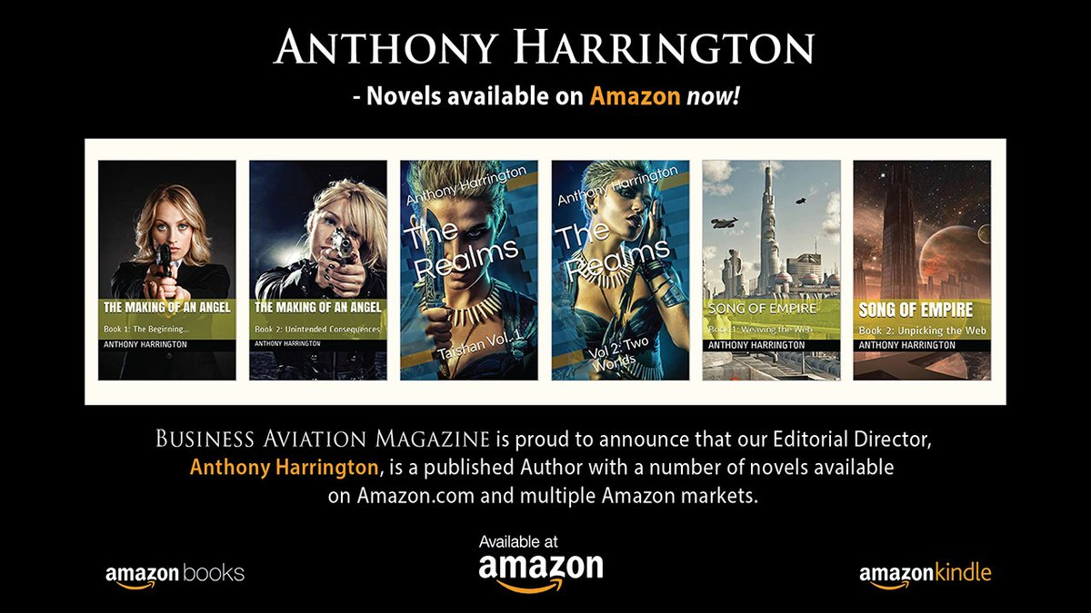 We are proud to announce that our Editorial Director, #AnthonyHarrington, is a published Author with a number of novels available on https://t.co/sd44V0IGj0 and multiple #Amazon markets.  Visit Anthony Harrington's Author page: https://t.co/DeI83UeTnR @antno1 #BAM #BizAvMag https://t.co/n3rx1lrkXr