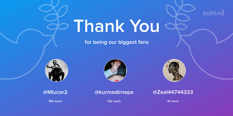 Our biggest fans this week: Mlucar2, kurmadirnepa, Zeal44744333. Thank you! via https://sumall.com/thankyou?utm_source=twitter&utm_medium=publishing&utm_campaign=thank_you_tweet&utm_content=text_and_media&utm_term=cf5549ab7f8ed5ee338cd68c…pic.twitter.com/c4c3NrG6yC