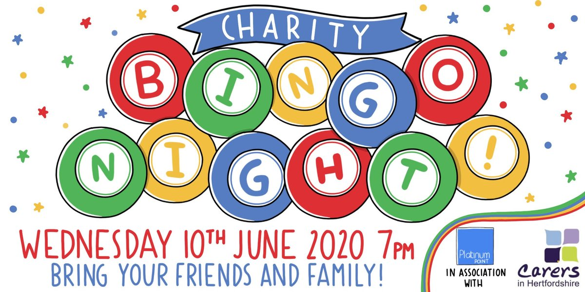 Get your dabbers ready, it's bingo time!  In association with @Platinum_Point we're running a charity bingo evening to help raise some much needed funds for @CarersinHerts on 10th June.  Book your tickets today, and get the whole household involved - https://t.co/QgbaWkm9jv https://t.co/YTh0qEtS2C