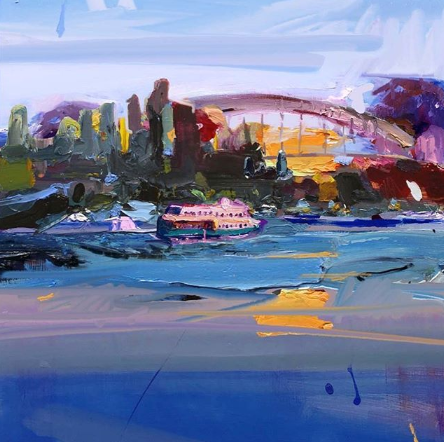 """One of my favourite things is watching the ferries make their way around the harbour at sunset...""""Sydney Skyline From Balmain East"""", 61X61cm.  #creative #inspiration #Sydney #BalmainEast #Skyline #ferriespic.twitter.com/jnJb9OGKfP"""