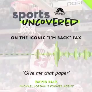 """""""I'm back.""""   @NBCSChicago tells the behind-the-scenes story of MJ's iconic fax in the premiere episode of the #SportsUncovered podcast.   LISTEN ➡️ https://t.co/ZHcUqefi56 https://t.co/K5tMidwynV"""