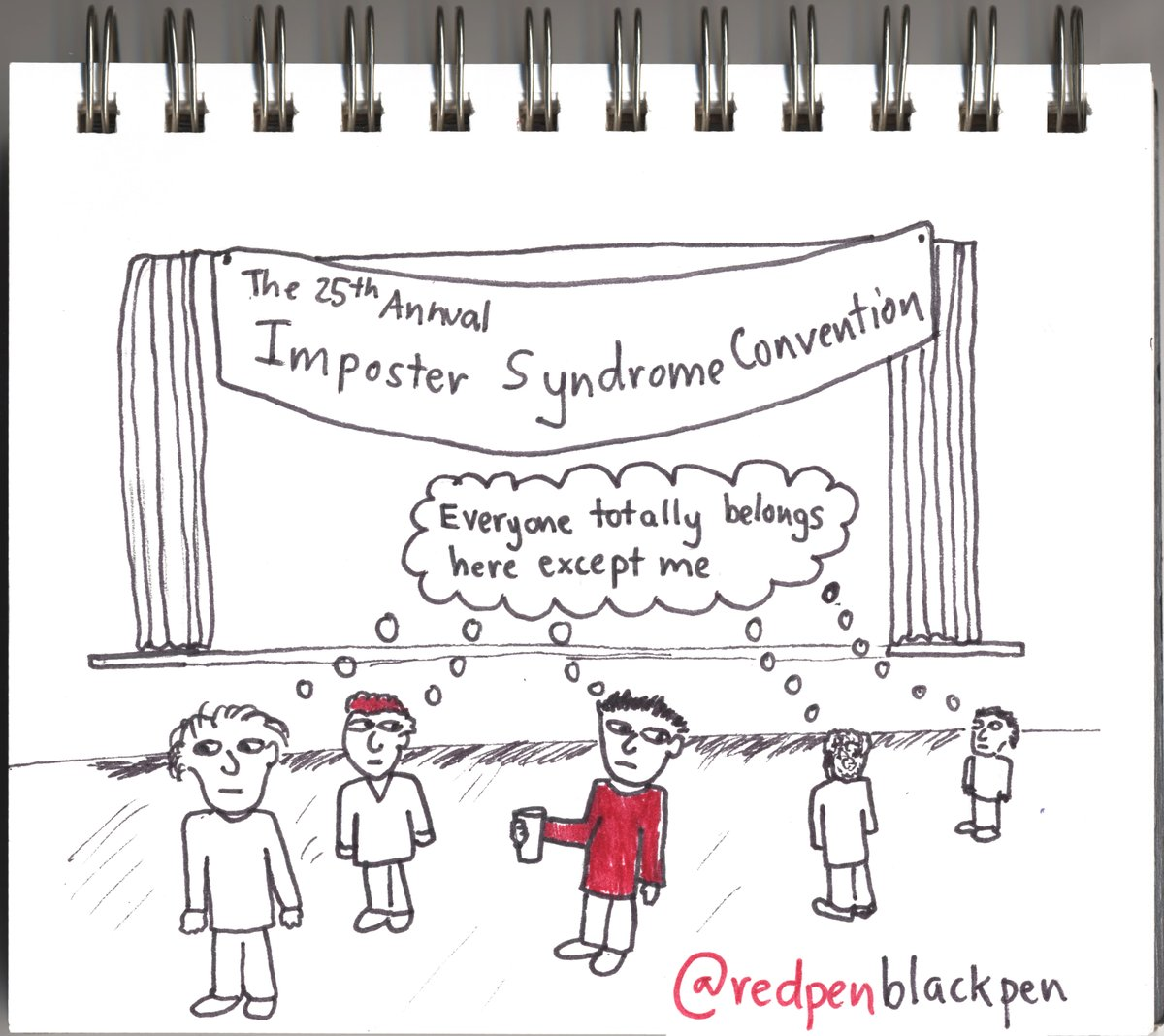 Old cartoon, with modern-day social distancing #impostersyndrome https://t.co/gJniN7mxSY