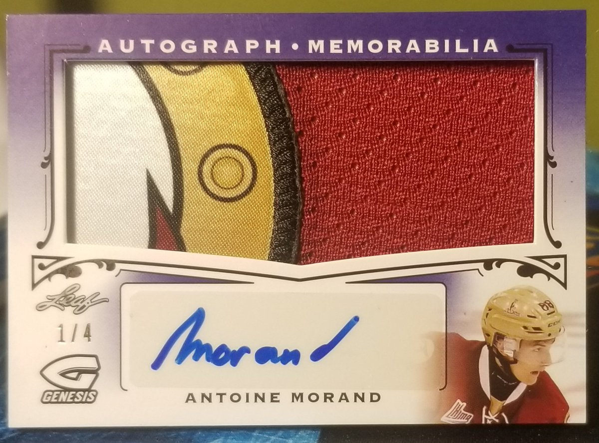 Antoine Morand Leaf Genesis Autograph Memorabilia available.   The 1/4 is currently in hand, the 2/3 is on my COMC port.  Would love to get some Taylor Raddysh from the same sets in return or they are available FS.  #collect #NHL #TradingCards #thehobby #hobbyfampic.twitter.com/tSHXE2b3uP