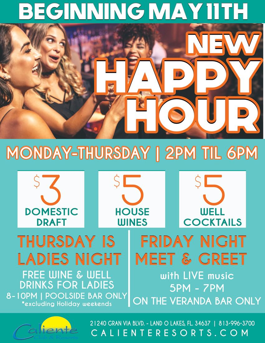 We have some fun #HappyHour specials this week at http://calienteresorts.com.  And all of the party is outside in the open air.  So you can get your drink and spread out or join in to your comfort level. From #ladiesnight to #fridaynight and all the other nights. #itsacalientethingpic.twitter.com/x3OvUDY5UU