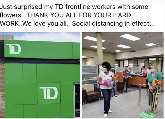 #br1476 was surprised when showered with flowers of gratitude from a very grateful customer this morning.   THANK YOU for brightening up our day We're here for you#tdfrontlineworkers @scott_belton @tdpauld @dvhfollowerspic.twitter.com/pigZIggLb9 – at jane sheppard mall