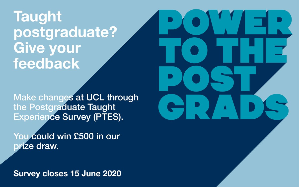 Postgrads on taught programmes, you could win £500 in cash just for taking part in the Postgraduate Taught Experience Survey (PTES). Click here to take the survey and share your feedback on your time at UCL: https://t.co/4WMfibB4Yp https://t.co/sckmAmgu3H