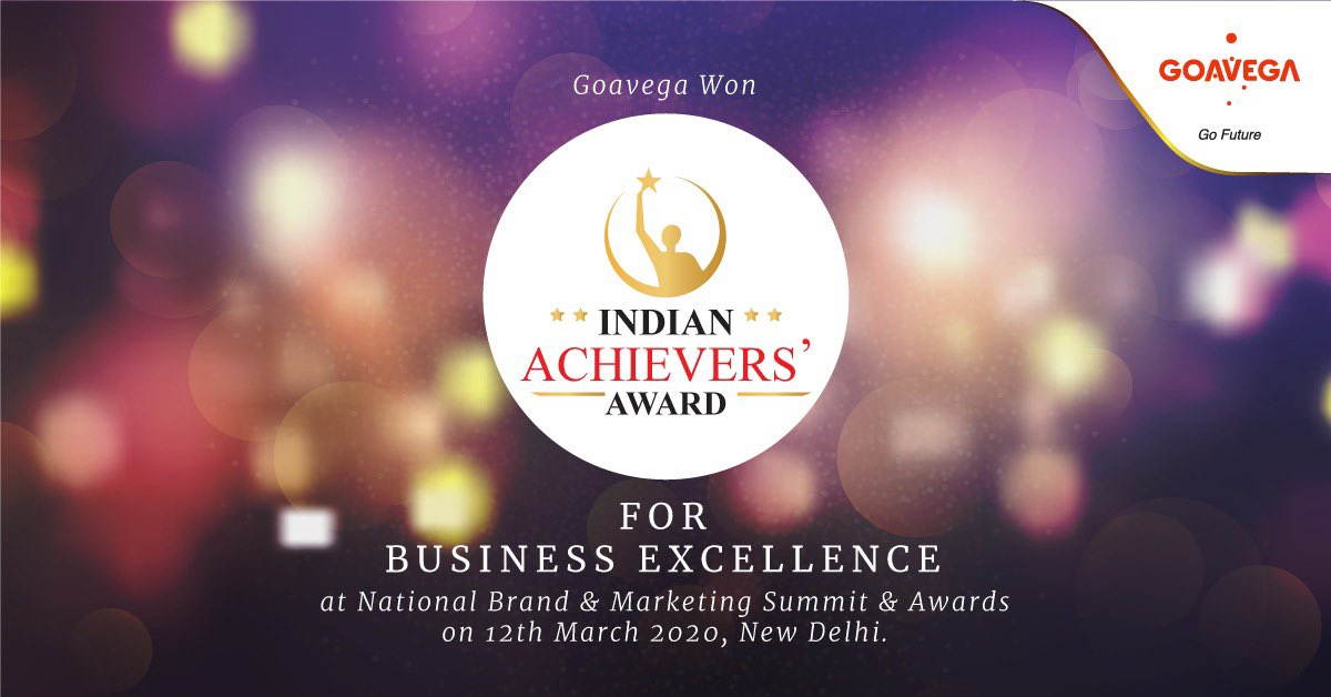 """Goavega is pleased to announce that we won the """"Indian Achievers Award 2020"""", for Business Excellence at National Brand and Marketing Summit and Awards.    #Goavega #awards #awardwinning #awardwinner #businessawards #IndianAchieversAward #awardpic.twitter.com/pmSpiHoQmC"""