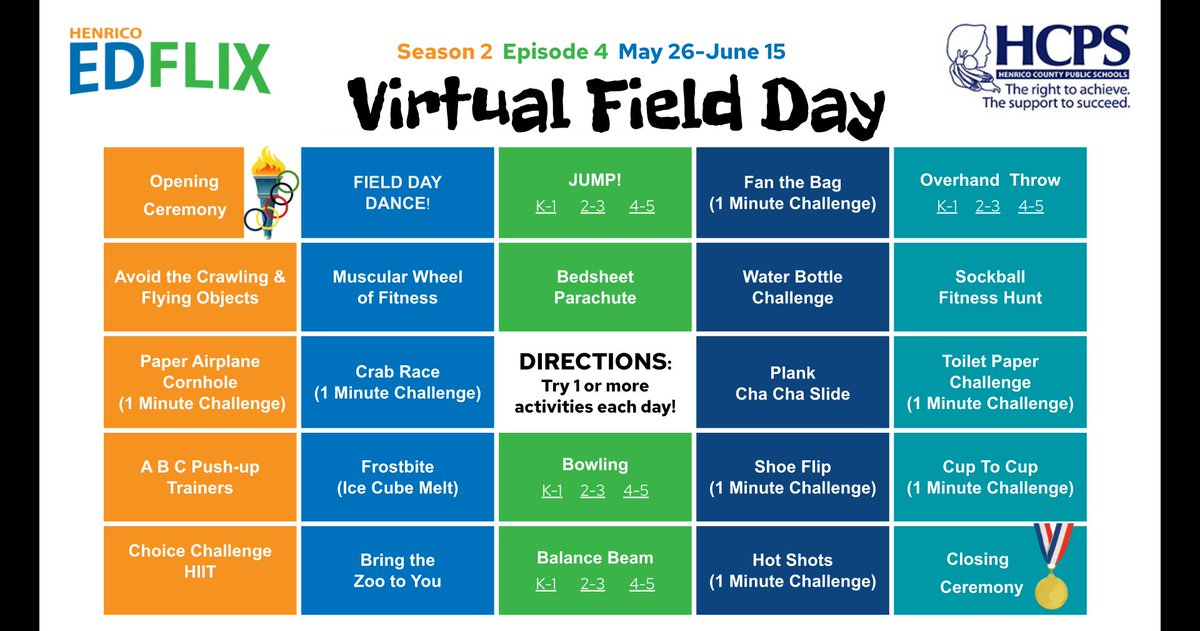 Sad about missing field day this year? Don't worry. We have you covered! - Be sure to check out @HenricoSchools virtual field day choice board! Now available on #Edflix @AmyCashwell @kdbostain @MikeDussault4 #PhysEd #physicaleducation pic.twitter.com/b9ZGN9UxFE
