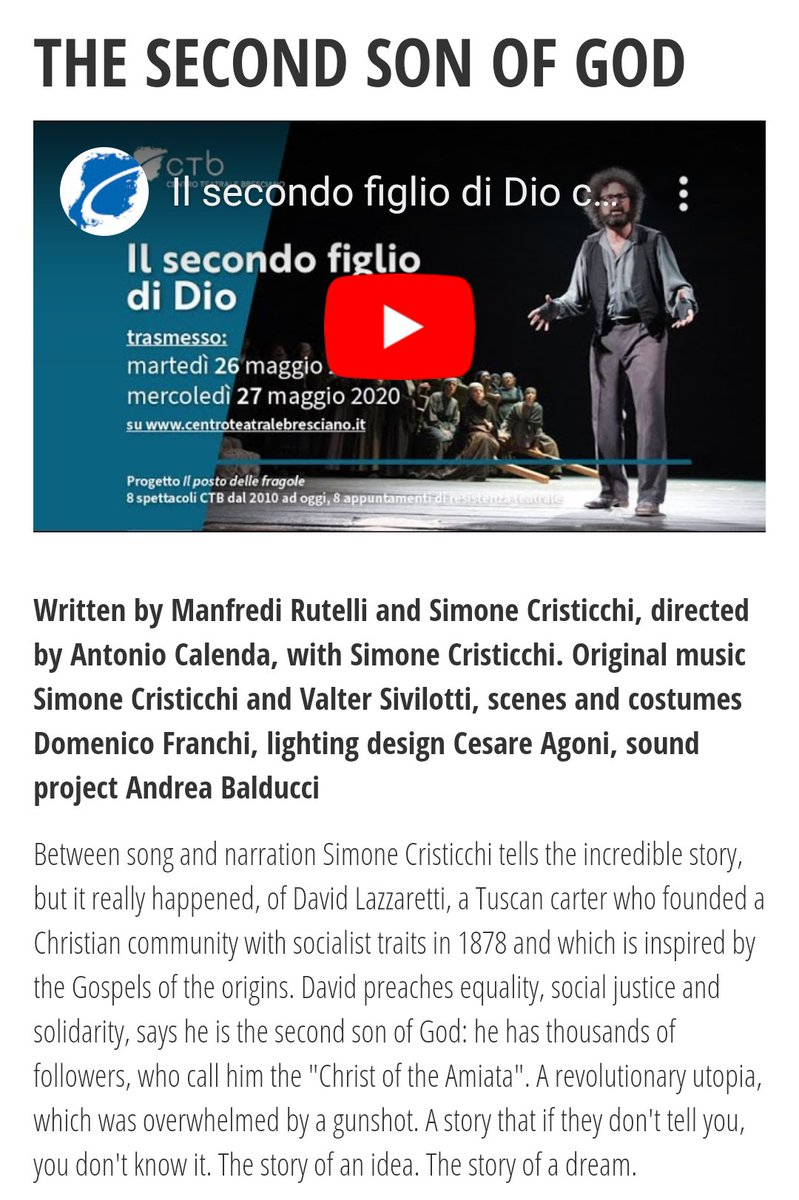 📣📣📣This is the last day to watch this wonderful piece of #theatre #TeatroStreaming 'The Second Son of God' by and with Simone Cristicchi.  Viewing on CTB Centro Teatrale Bresciano website and YouTube. Performed in Italian. Subtitles may be available on YouTube. #livescreening https://t.co/HpZkWquzfx