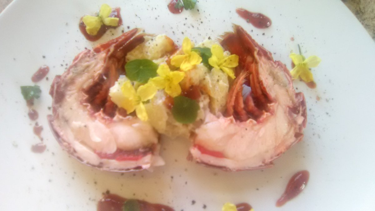 So Happy #WednesdayThoughts to everyone, it is a lovely sunny day here, I have been making a Charlotte potato and lobster tail salad, I dusted the plate with pepper and sumac to bring a lemony warmth, I have used kale flowers and nasturtium leaves from the garden as a garnish. <br>http://pic.twitter.com/UnQGss9mG1