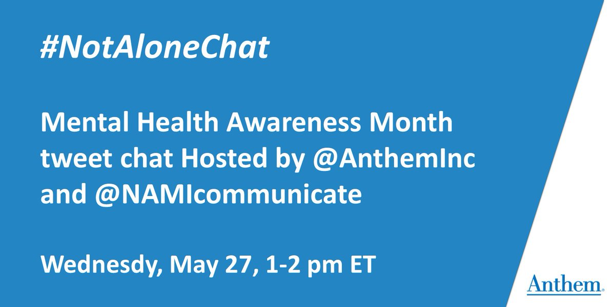 Two hours until the #NotAloneChat with @NAMICommunicate. Join us today from 1pm - 2pm ET for an important conversation with industry leaders around #MentalHealth. #MentalHealthMonth #TweetChat