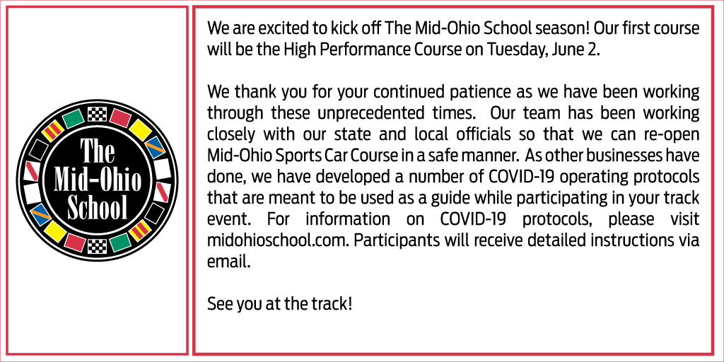 The Mid-Ohio School is Opening June 2nd! Update: