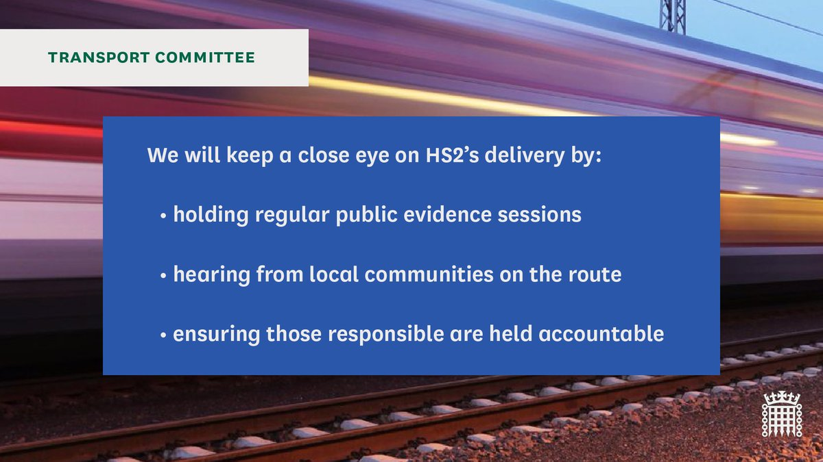 🚄Read two letters we published last week on HS2 addressed to @HS2ltd and Minister for HS2 @Andrew4Pendle Find out more and read the letters here: committees.parliament.uk/committee/153/… See below how we will be keeping a close eye on the delivery of #HS2