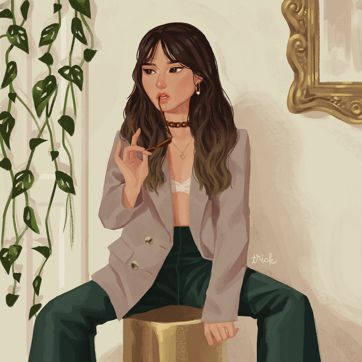 *plays monday by jeff kaale*  as of now i think i've already watched every single one of her videos at least 4 times. i love her humor, her style, her hair, her art, HER EDITING, her honesty, her mindset!, i can go on for hours!  okay, i'll shut up. here's a painting of her <br>http://pic.twitter.com/Ji0u2oFDYq