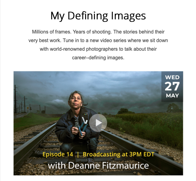 Today! Not to be missed. @deanne_fitz is up on the #creatorshour on the @NikonUSA site. Deanne is a pro's pro, and her abilities as a storyteller are unmatched. Tune in!  https://www.nikonevents.com/us/live/creators-hour/?&utm_source=MKT&utm_medium=email&utm_campaign=CreatorsHour14-US-5-27-2020&utm_content=btn&utm_term=inspiration&ET_CID=3340481&ET_RID=326615172&SC_ID=0032400000mTn8bAAC#inspiration …pic.twitter.com/SmzzNxaCUl