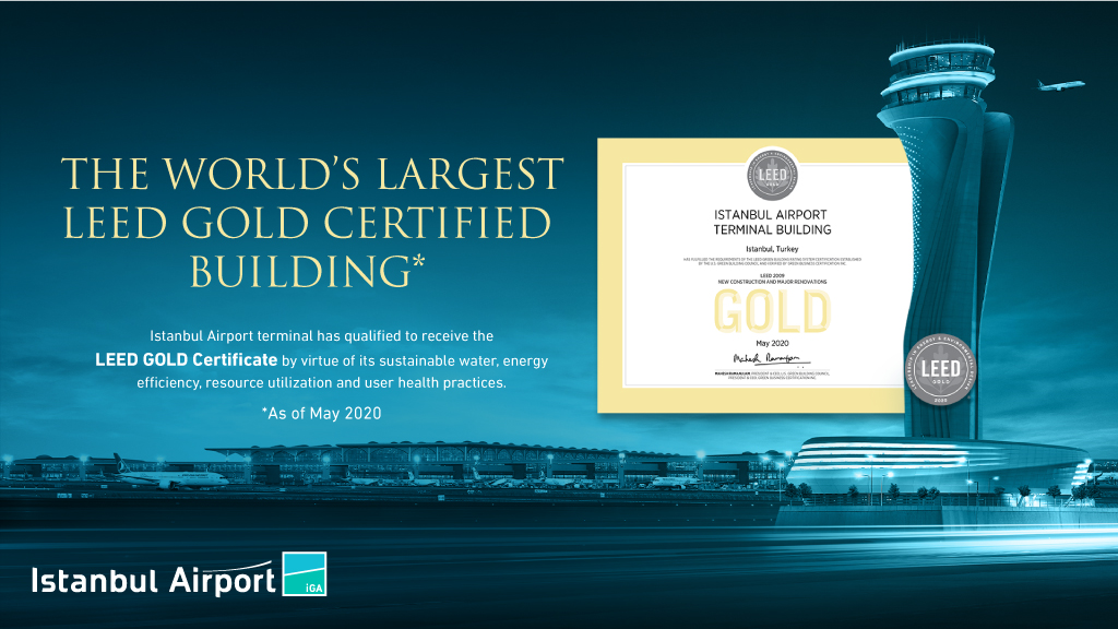 "We are the world's largest building with a ""Gold Certificate""!  #IstanbulAirport has qualified to receive the ""LEED Gold Certificate"" - a green building rating system developed by @USGBC! https://t.co/8KtojjMoT3"