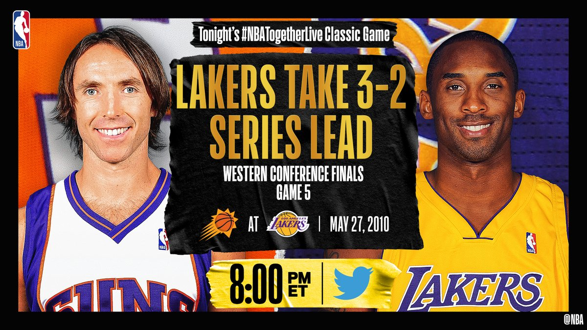 Tonight's #NBATogetherLive Classic Game will feature @Suns / @Lakers Game 5 of the Western Conference Finals (5/27/2010)!  We're streaming it live & watching together here on @NBA at 8:00pm/et. https://t.co/9zUlWQqJ7v