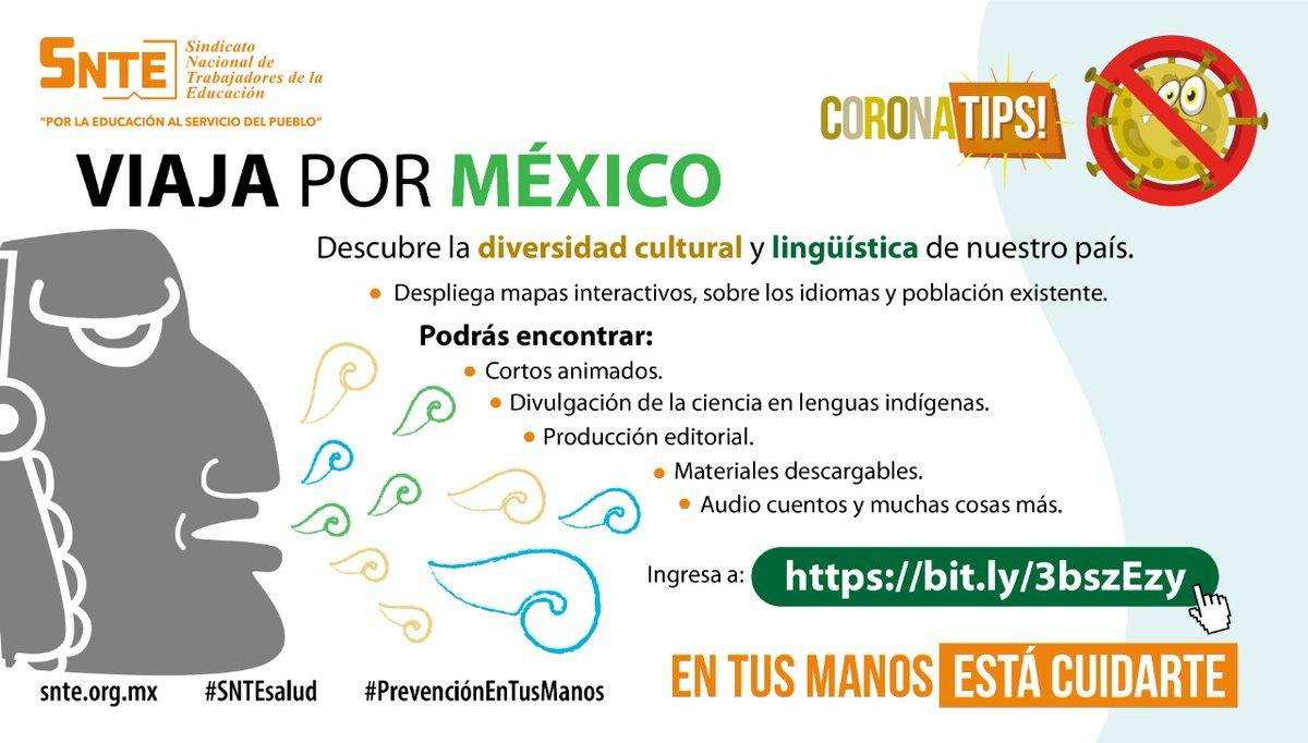#SNTEsalud ⚕️ Descubre la diversidad cultural 🤓 de México en un viaje virtual👨💻 bit.ly/3bszEzy 👈 y al fin de #cuarentena #coronavirus #COVID19 🦠 recorre México🇲🇽 #QuedateEnCasa #FelizMartes #26Mayo Siiii Ánimo #CuentaHasta10 #Mañanera FRAP #EnVivo 聞き耳 #27MAYIS