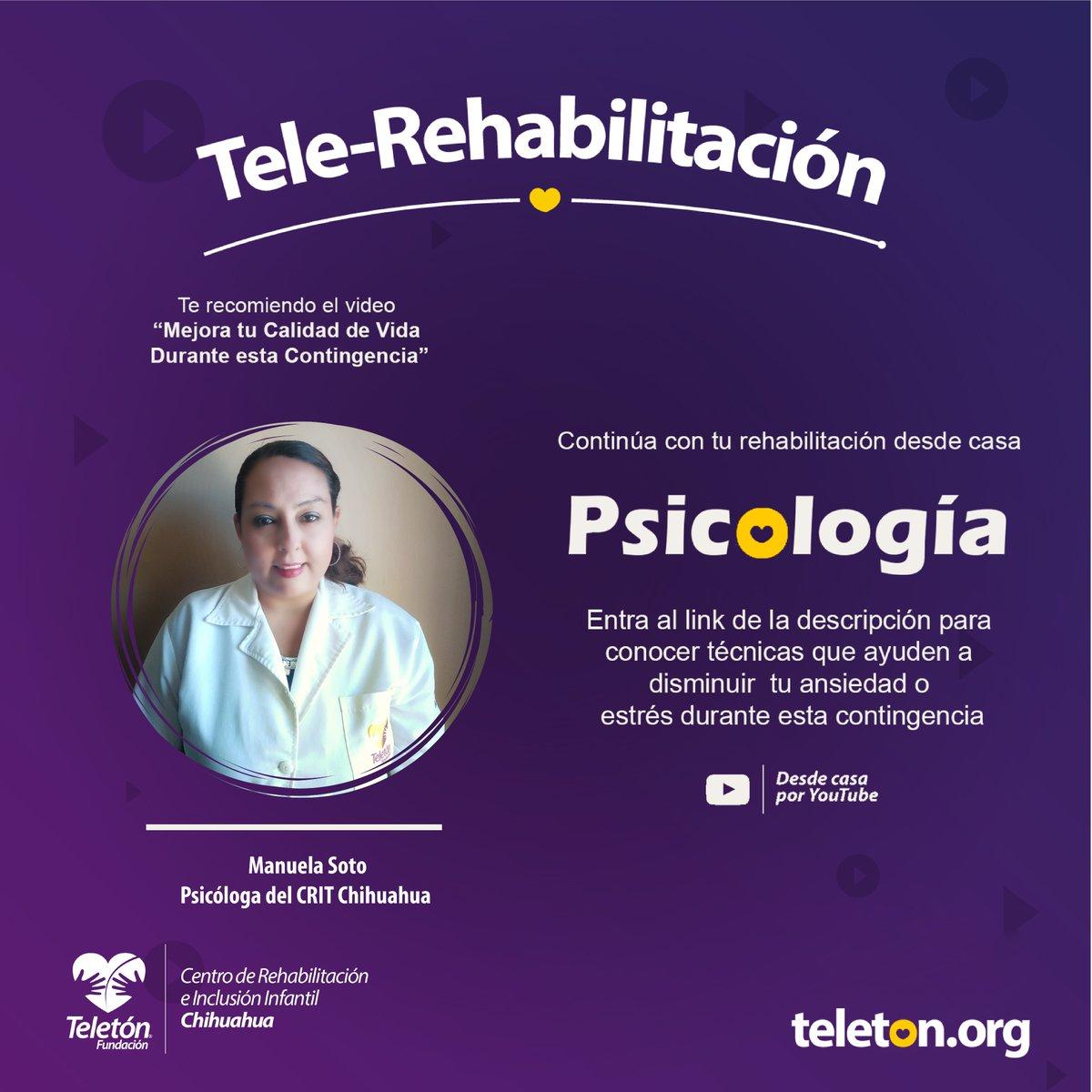 ¡Tele-Rehabilitación para todos!  Da clic en el siguiente link:    #teletónsiemprecontigo     #telerehabilitación  #quédateencasa  #teletónméxico  #unidossaldremosadelante  #psicología