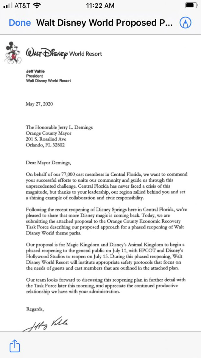 Disney provided its reopening dates in this letter @WaltDisneyWorld  July 11 and July 15 SeaWorld Orlando wants to reopen June 11 @WESH https://t.co/ubKDDMpa9J