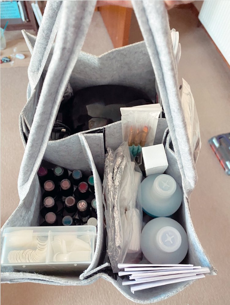 Got a caddy from eBay like the one @mrshinchhome has for putting all of my home gel nail kit in to! pic.twitter.com/kQ8RDRAynl