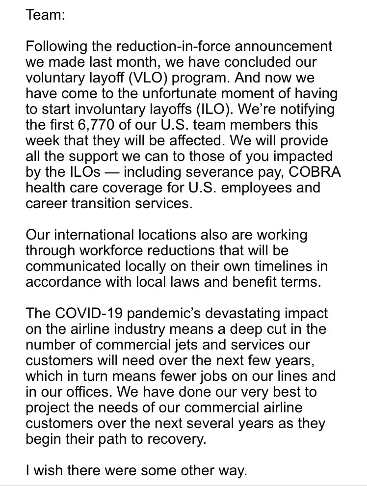 Breaking: @Boeing to lay-off 6,770 U.S employees with notifications coming later this week (CEO email to employees) https://t.co/ZTqFkiiCR7